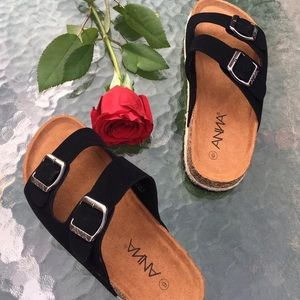 Shoes - Black double strap slides beach casual sandals